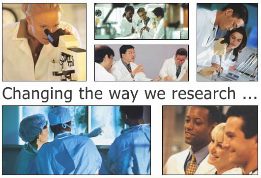 "Doctors and researchers working together with the phrase ""Changing the way we research""."